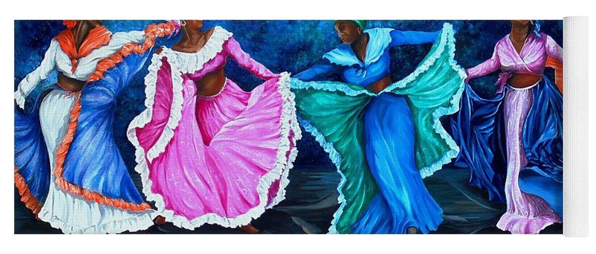 Caribbean Dance Yoga Mat featuring the painting Caribbean Folk Dancers by Karin Dawn Kelshall- Best