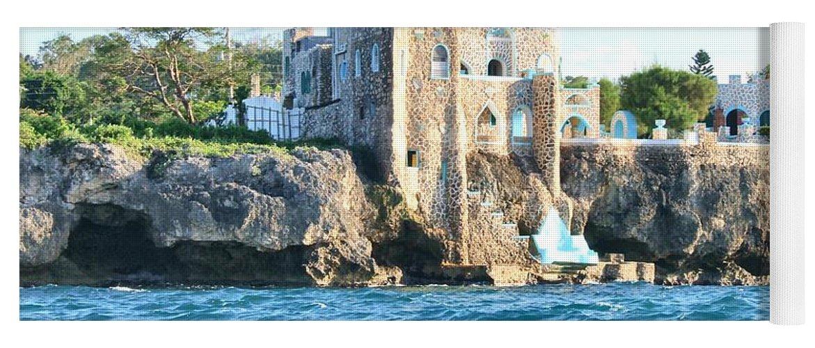 Castle Yoga Mat featuring the photograph Castle At Sea by Debbie Levene