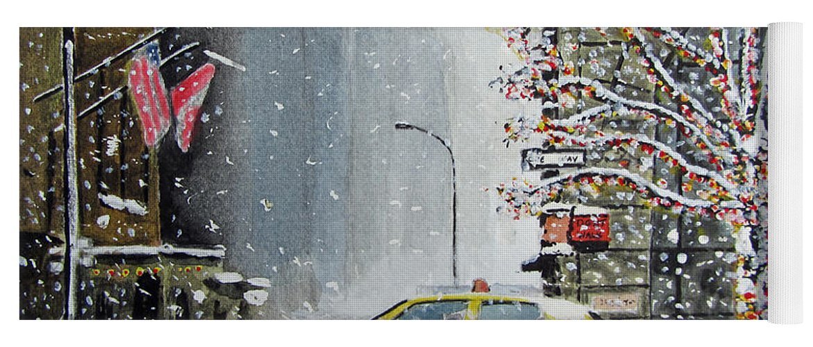 New York Yoga Mat featuring the painting Catch A Snow Cab by Callan Art