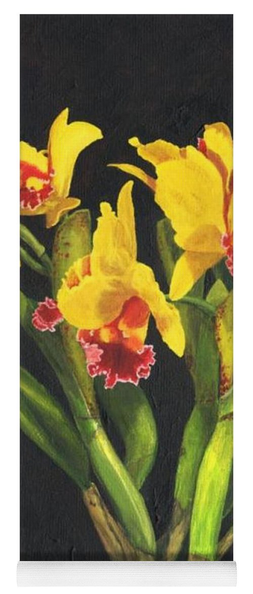 Flower Yoga Mat featuring the painting Cattleya Orchid by Richard Harpum