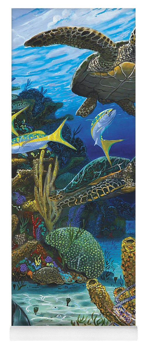 Turtle Yoga Mat featuring the painting Cayman Turtles Re0010 by Carey Chen