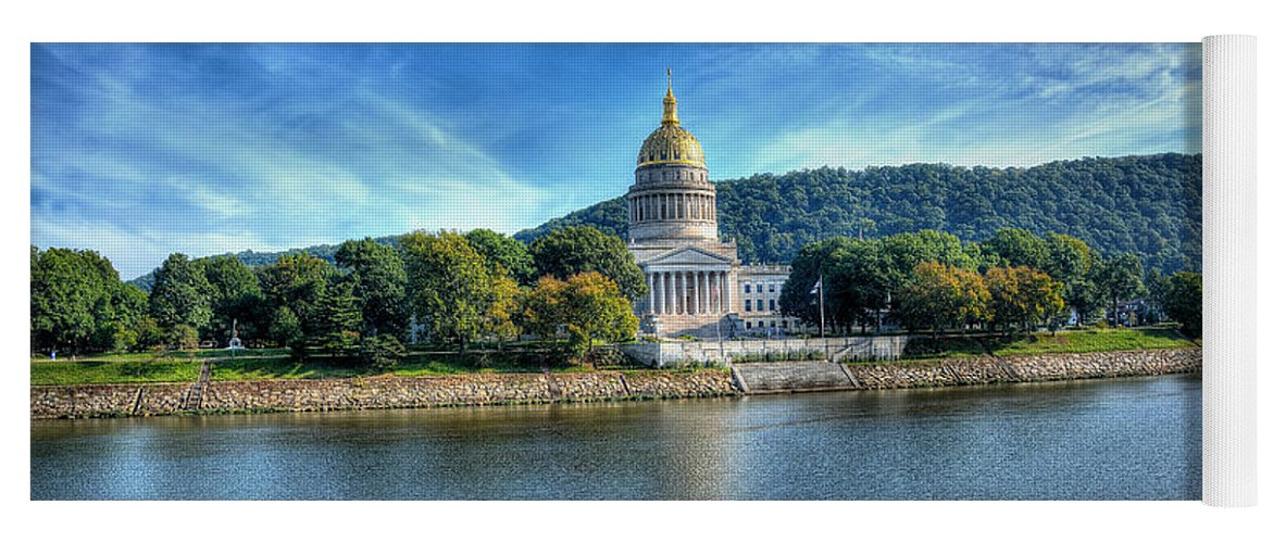 Capitol Building Yoga Mat Featuring The Photograph Charleston West Virginia Capital By Todd Hostetter