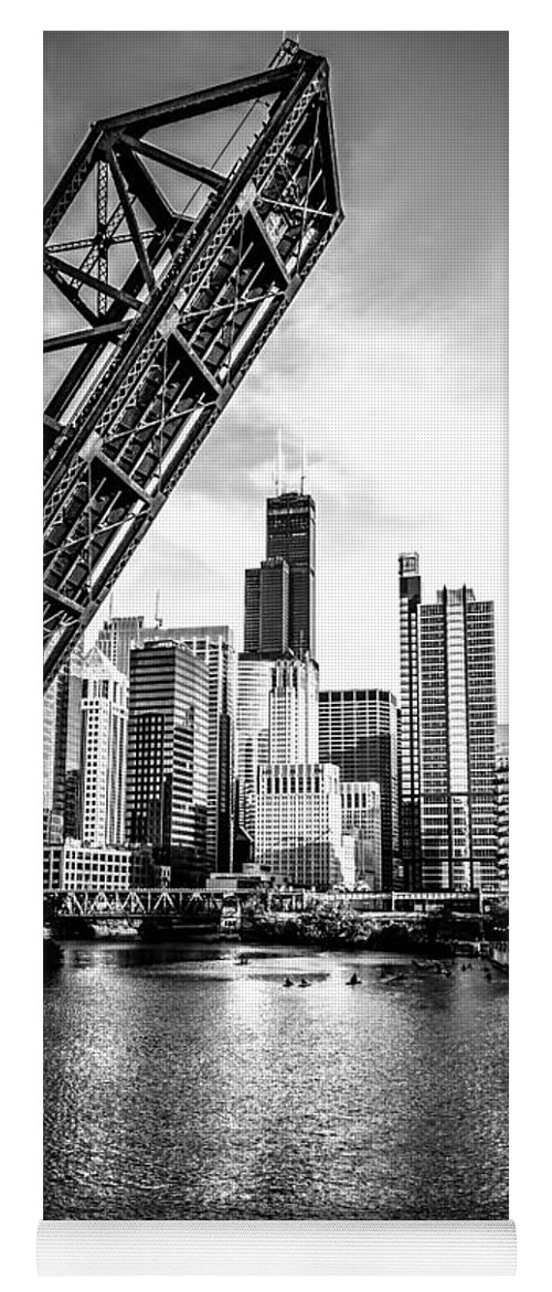 America Yoga Mat featuring the photograph Chicago Kinzie Street Bridge Black and White Picture by Paul Velgos