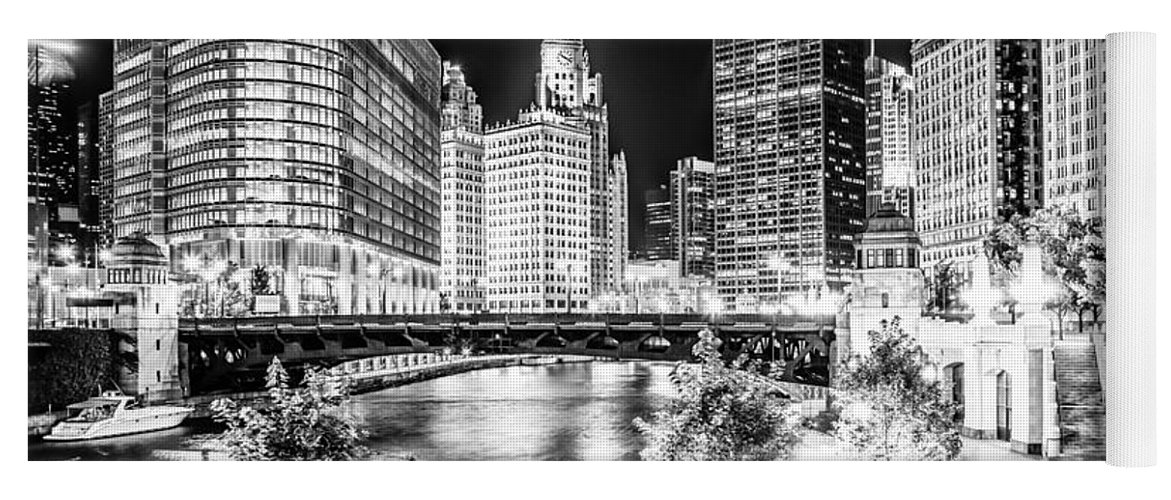 America Yoga Mat featuring the photograph Chicago River Buildings at Night in Black and White by Paul Velgos