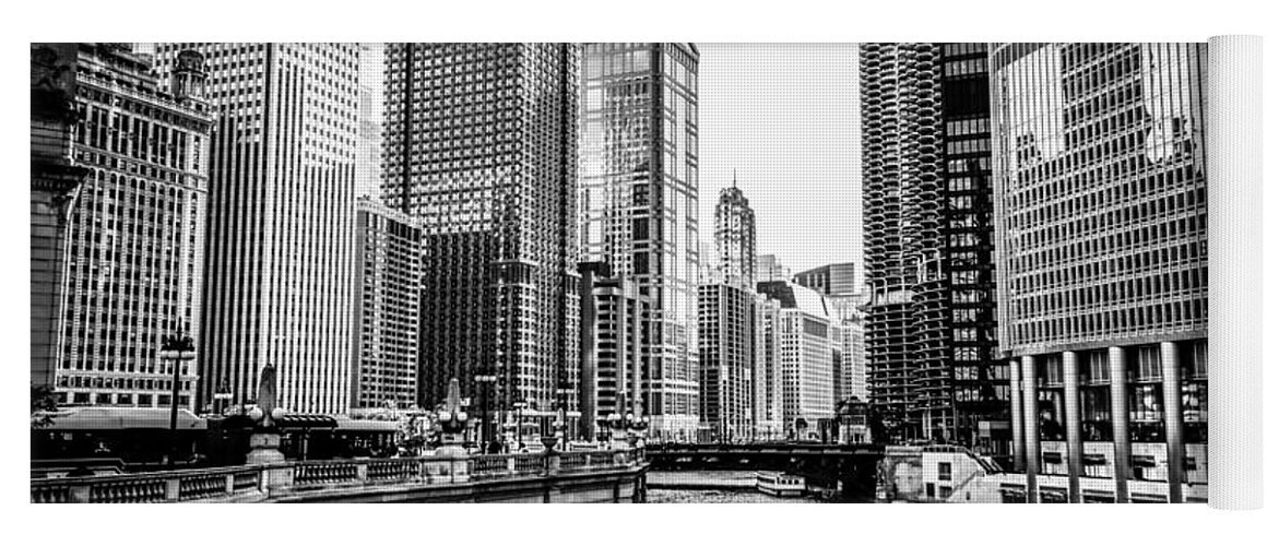 America Yoga Mat featuring the photograph Chicago River Buildings In Black And White by Paul Velgos