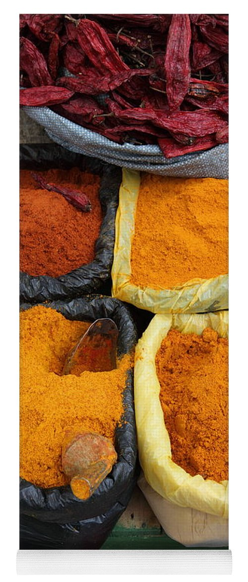 Markets Yoga Mat featuring the photograph Chilli Powders 3 by James Brunker