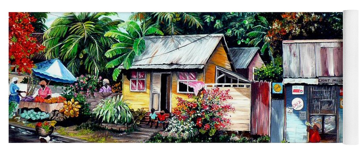 Landscape Painting Caribbean Painting Shop Trinidad Tobago Poinciana Painting Market Caribbean Market Painting Tropical Painting Yoga Mat featuring the painting Chins Parlour   by Karin Dawn Kelshall- Best