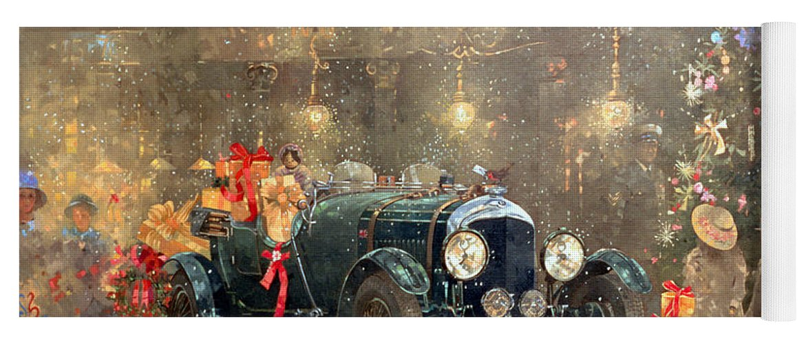 Motor Car Yoga Mat featuring the painting Christmas Bentley by Peter Miller