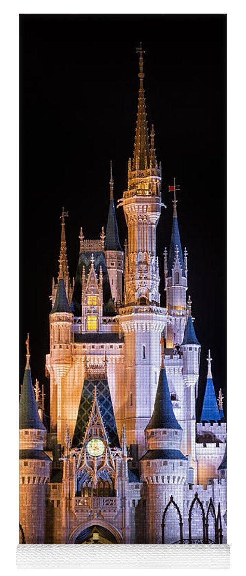 3scape Yoga Mat featuring the photograph Cinderella's Castle in Magic Kingdom by Adam Romanowicz