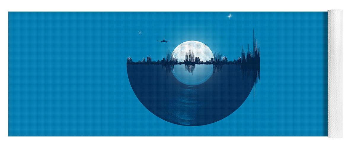 City Yoga Mat featuring the digital art City tunes by Neelanjana Bandyopadhyay