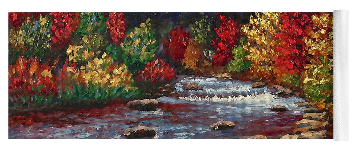 Landscape Yoga Mat featuring the painting Clear Creek In Golden Colorado by Francesca Kee