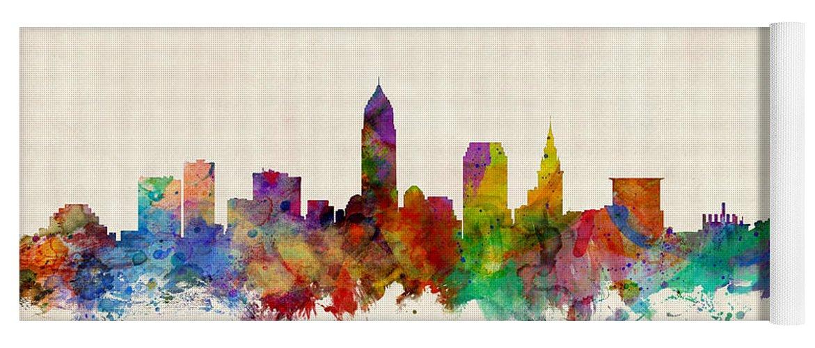 Watercolour Yoga Mat featuring the digital art Cleveland Ohio Skyline by Michael Tompsett