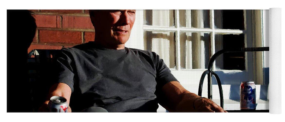Clint Eastwood Yoga Mat featuring the digital art Clint Eastwood @ Grand Torino- 2 by Gabriel T Toro