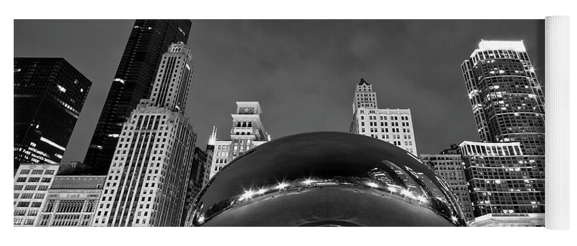 3scape Yoga Mat featuring the photograph Cloud Gate and Skyline by Adam Romanowicz
