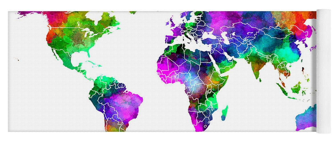 Color splash world yoga mat for sale by daniel hagerman world map yoga mat featuring the digital art color splash world by daniel hagerman gumiabroncs Gallery