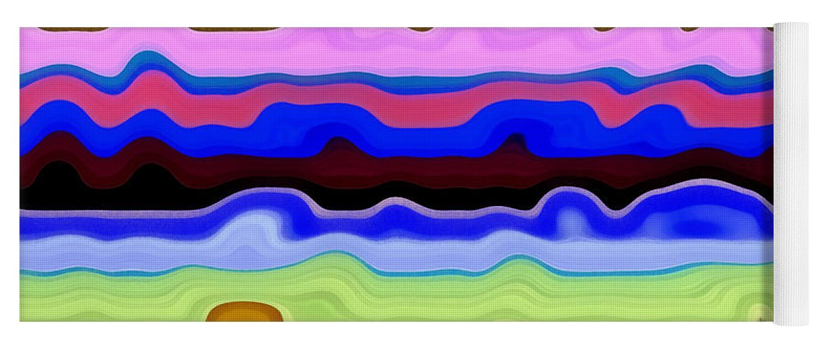 Textural Yoga Mat featuring the painting Color Waves No. 4 by Michelle Calkins