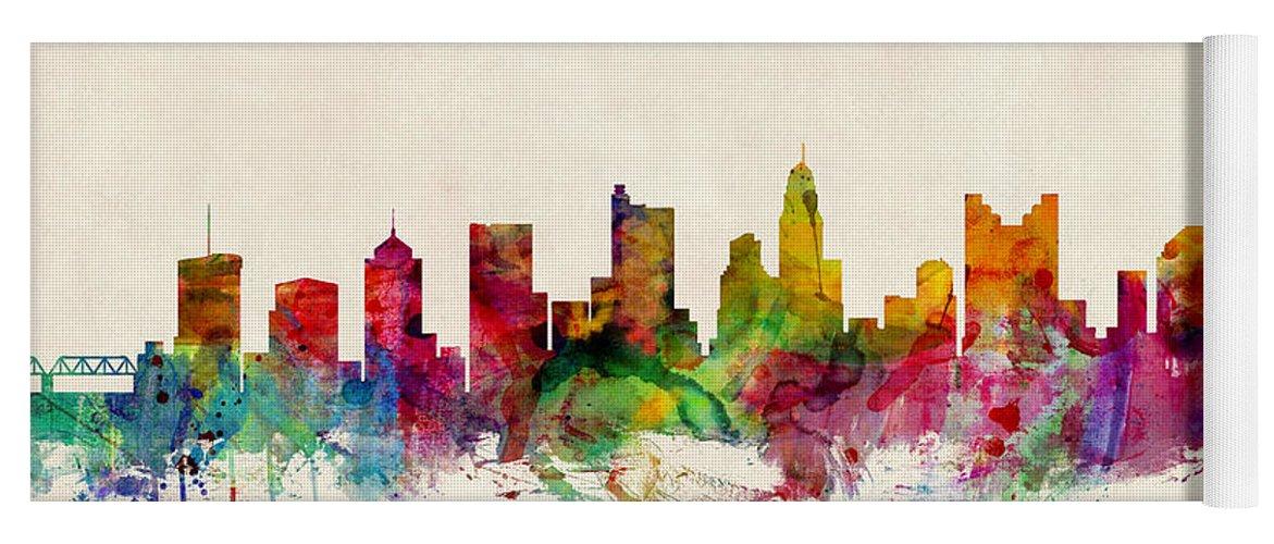 Watercolour Yoga Mat featuring the digital art Columbus Ohio Skyline by Michael Tompsett