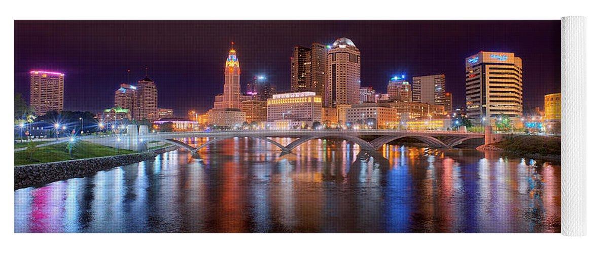 Columbus Skyline Yoga Mat featuring the photograph Columbus Skyline At Night Color Panorama Ohio by Jon Holiday