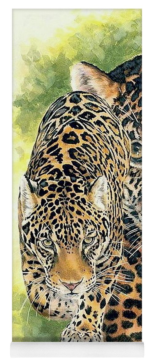 Jaguar Yoga Mat featuring the mixed media Compelling by Barbara Keith