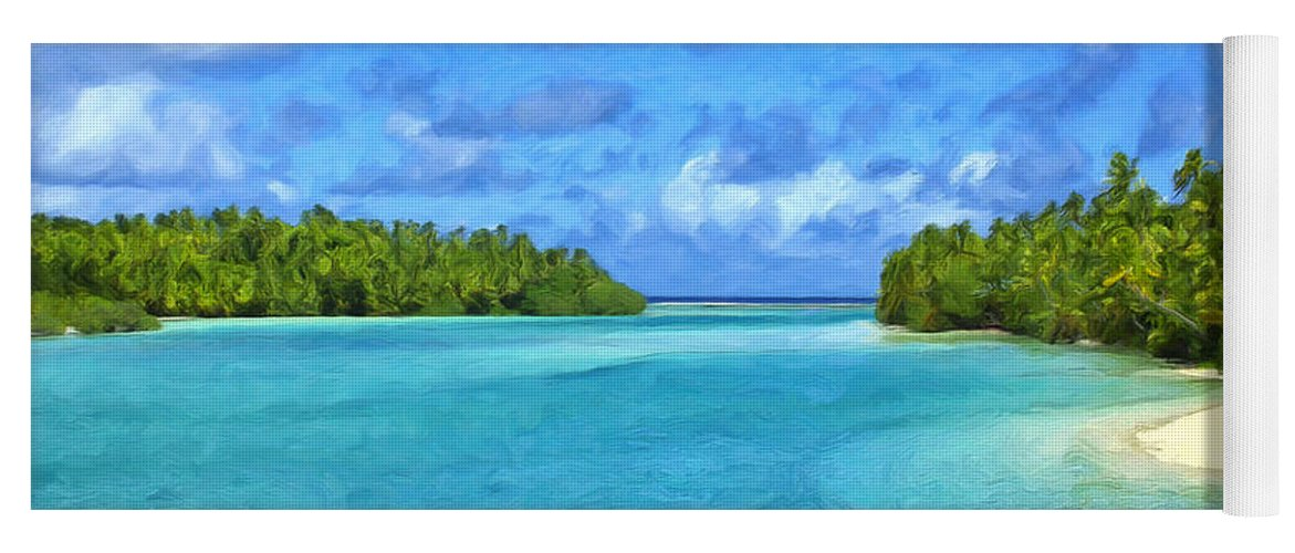 Cook Islands Yoga Mat featuring the painting Cook Islands Lagoon by Dominic Piperata