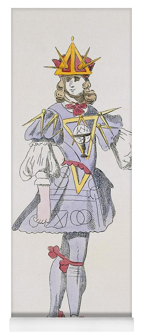 Baroque Yoga Mat featuring the drawing Costume Design For Geometry In A 17th by French School