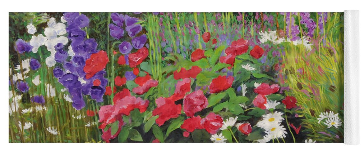 Flowers Yoga Mat featuring the painting Cottage Garden by William Ireland