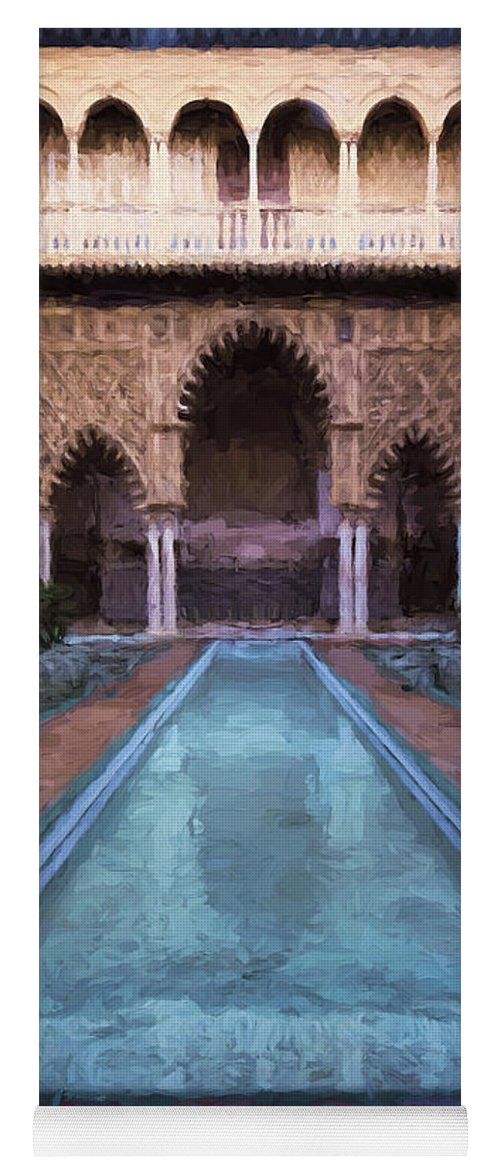 Joan Carroll Yoga Mat featuring the photograph Courtyard Of The Maidens by Joan Carroll