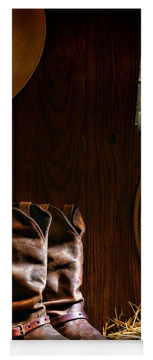 Western Yoga Mat featuring the photograph Cowboy Boots At The Ranch by Olivier  Le Queinec d3d686bdd4a8