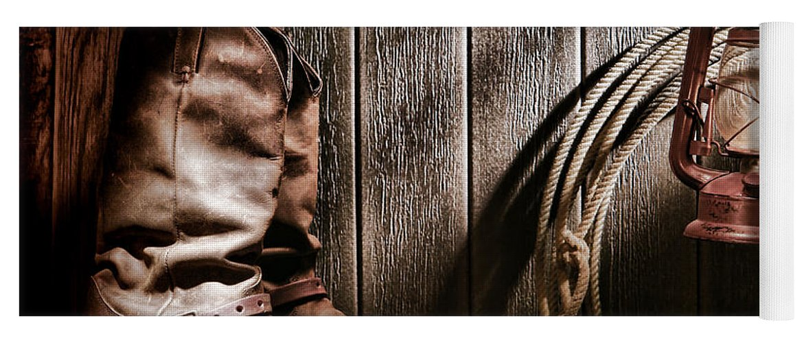 Boots Yoga Mat featuring the photograph Cowboy Boots In Old Barn by Olivier  Le Queinec 859525709bf7