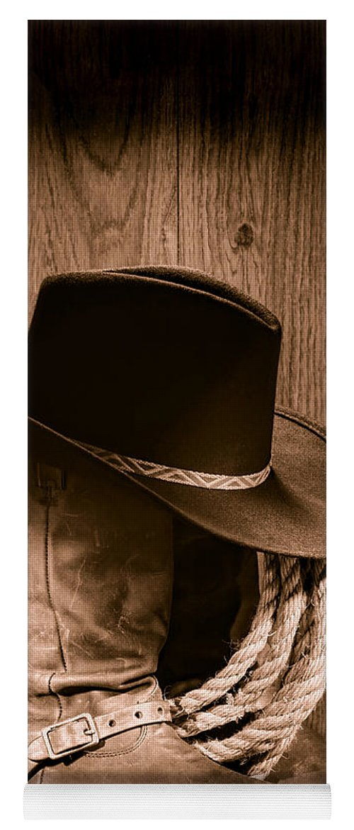 Boots Yoga Mat featuring the photograph Cowboy Hat And Boots by Olivier Le  Queinec ce732df515f1