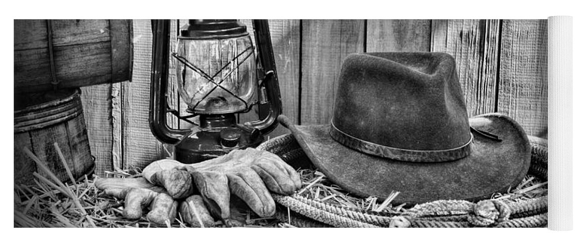 010edd4e90df4 Barn Yoga Mat featuring the photograph Cowboy Hat And Rodeo Lasso In A Black  And White