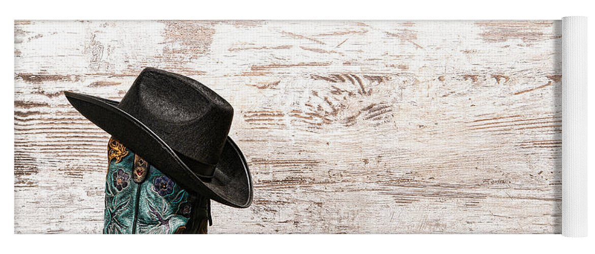 Cowgirl Yoga Mat featuring the photograph Cowgirl Boots by Olivier Le  Queinec ab7d2ae16e05