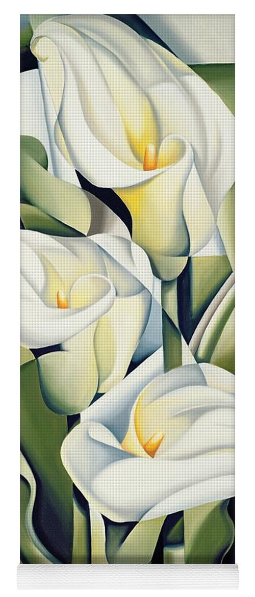 Cubist Yoga Mat featuring the painting Cubist lilies by Catherine Abel