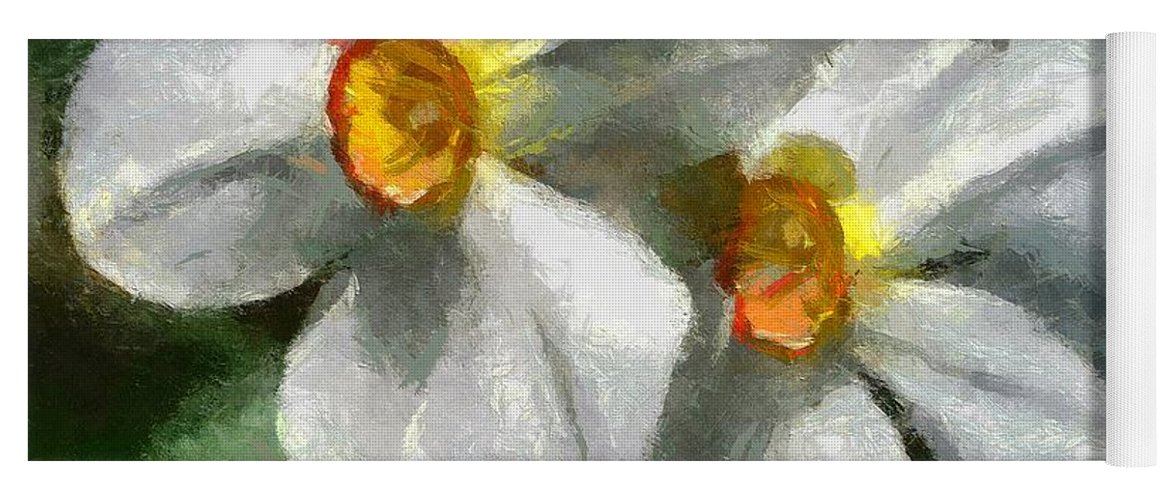 Spring Yoga Mat featuring the painting Daffodils by Dragica Micki Fortuna