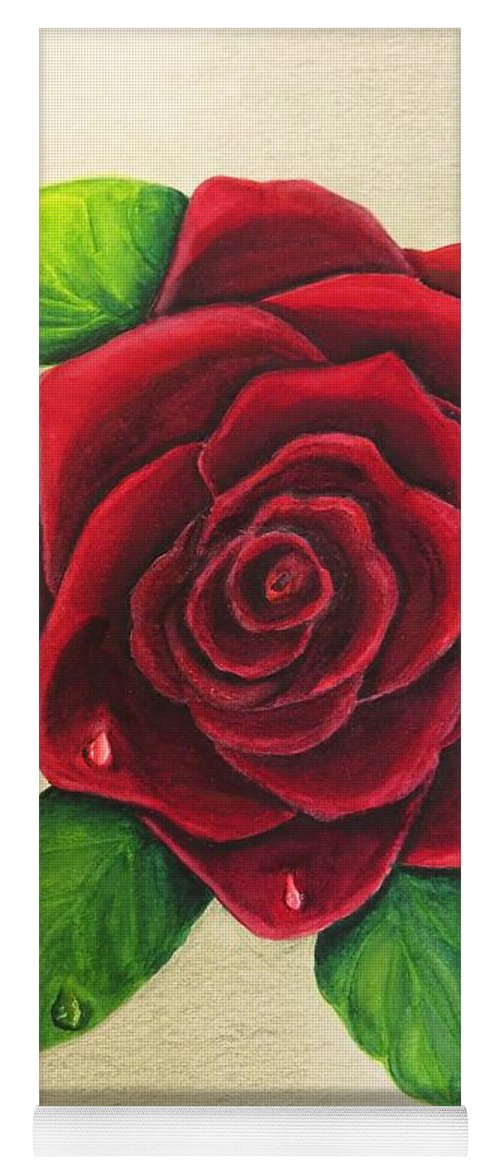 Rose Yoga Mat featuring the painting Dark Red Rose by Zina Stromberg