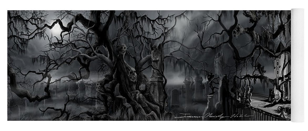 James Christopher Hill Yoga Mat featuring the painting Darkness Has Crept in the Midnight Hour by James Christopher Hill
