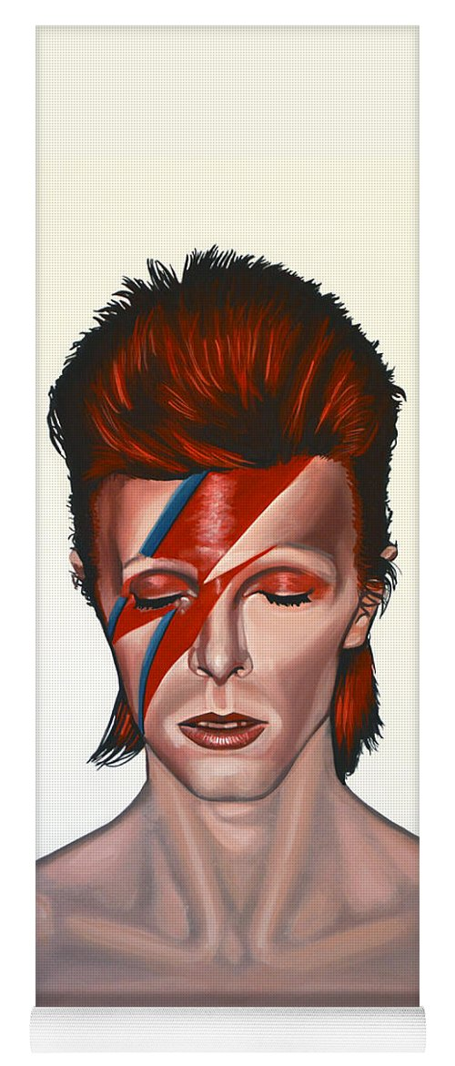 David Bowie Yoga Mat featuring the painting David Bowie Aladdin Sane by Paul Meijering