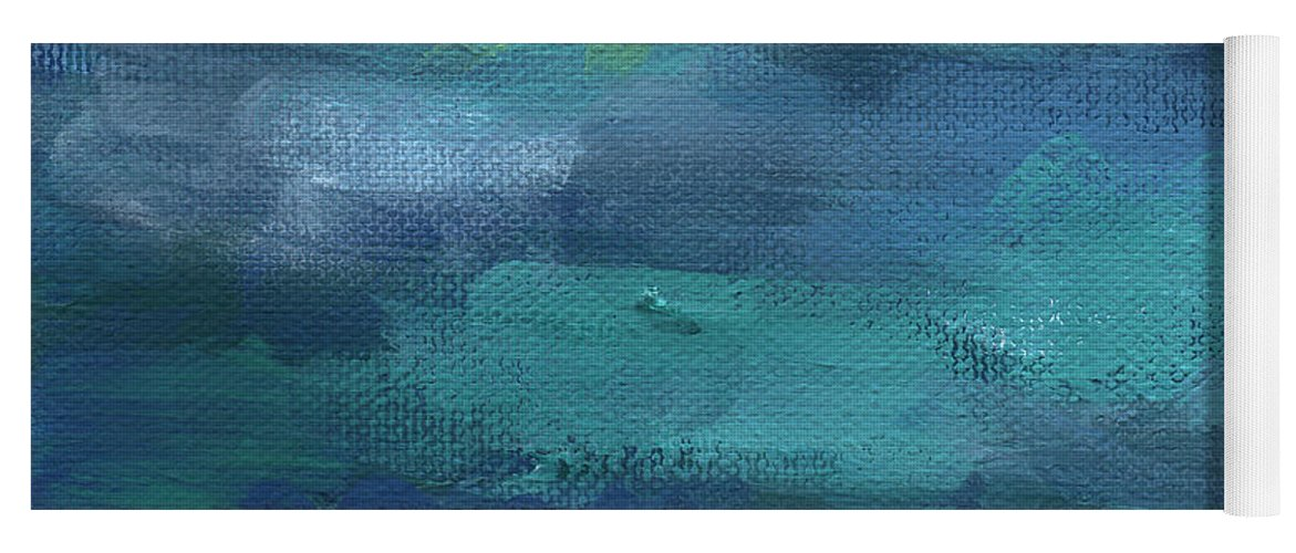 Blue Yoga Mat featuring the painting Tranquility- abstract painting by Linda Woods