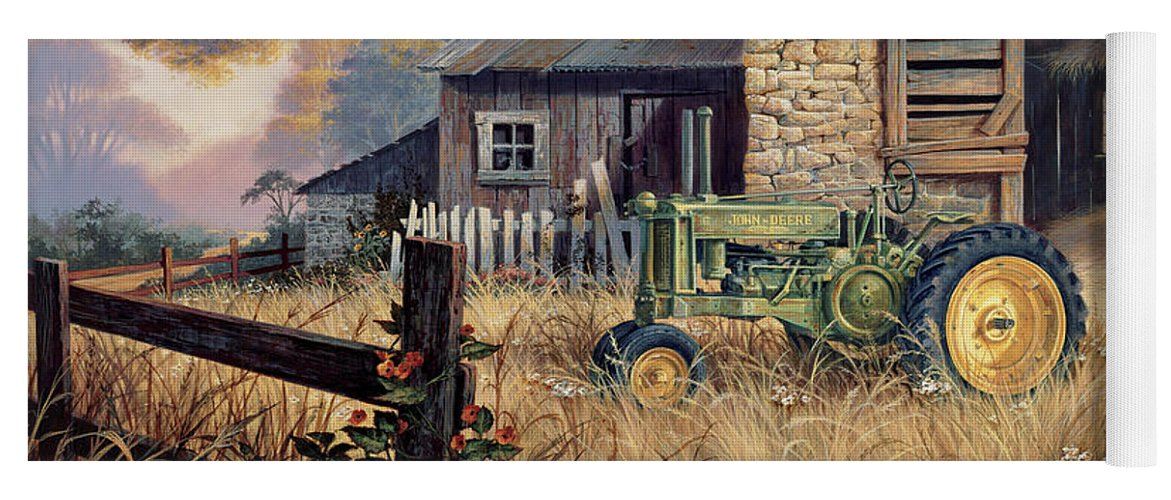 Landscape Yoga Mat featuring the painting Deere Country by Michael Humphries