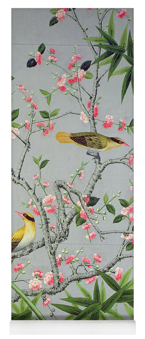 Bird Yoga Mat featuring the tapestry - textile Detail Of The 18th Century Wallpaper In The Drawing Room Photograph by John Bethell
