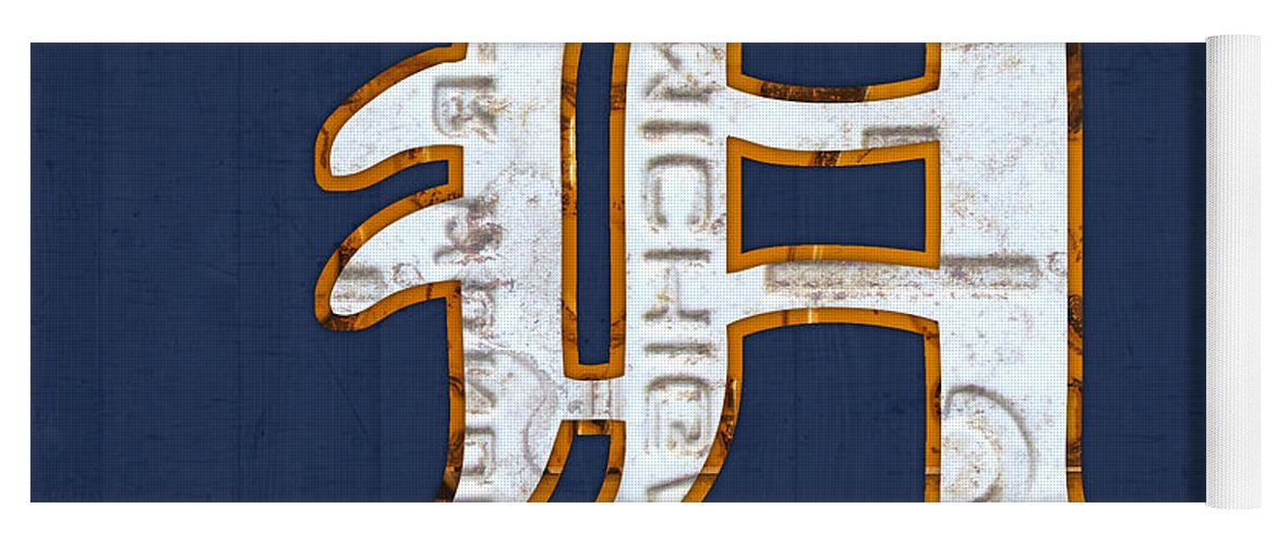 Detroit Tigers Baseball Old English D Logo License Plate Art Sports Michigan License Plate Map Yoga Mat featuring the mixed media Detroit Tigers Baseball Old English D Logo License Plate Art by Design Turnpike