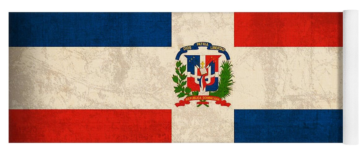 Dominican Republic Flag Vintage Distressed Finish Yoga Mat For Sale
