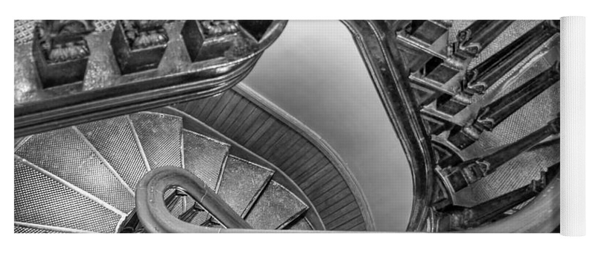Spiral Staircase Yoga Mat featuring the photograph Down The Side - Bw by Nikolyn McDonald