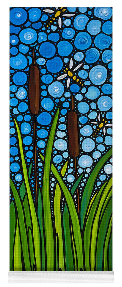Dragonfly Yoga Mat featuring the painting Dragonfly Pond By Sharon Cummings by Sharon Cummings