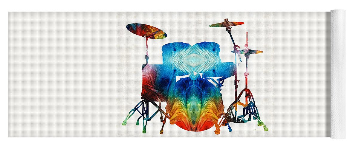 Drum Yoga Mat featuring the painting Drum Set Art - Color Fusion Drums - By Sharon Cummings by Sharon Cummings