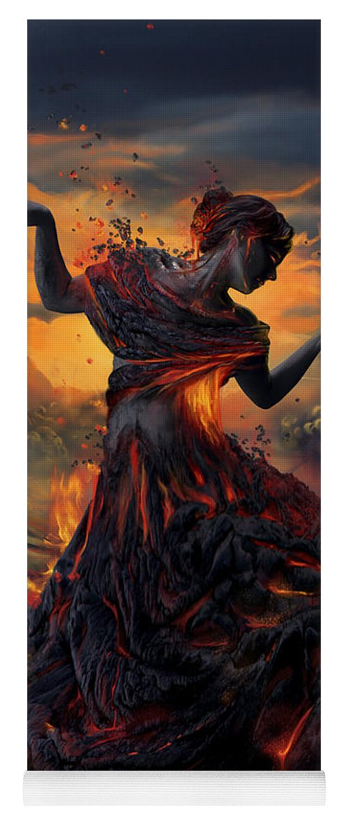 Fire Yoga Mat featuring the digital art Elements - Fire by Cassiopeia Art