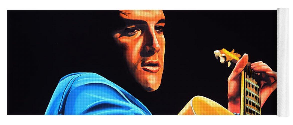 Elvis Yoga Mat featuring the painting Elvis Presley 2 Painting by Paul Meijering