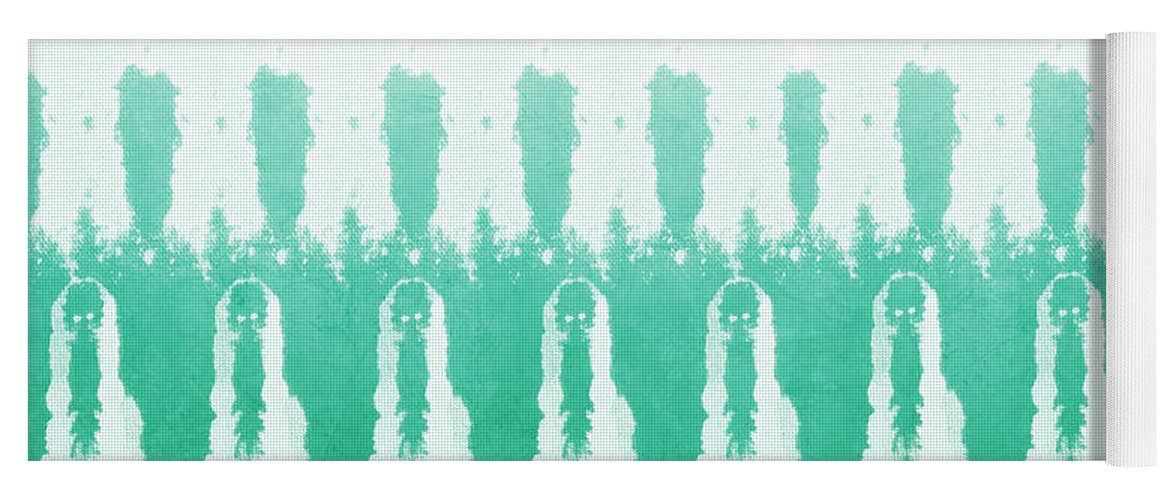 Abstract Yoga Mat featuring the painting Emerald Ombre by Linda Woods