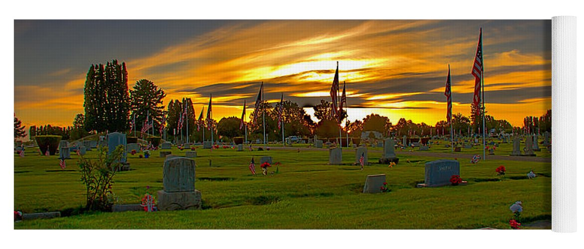 Gem County Yoga Mat featuring the photograph Emmett Cemetery by Robert Bales