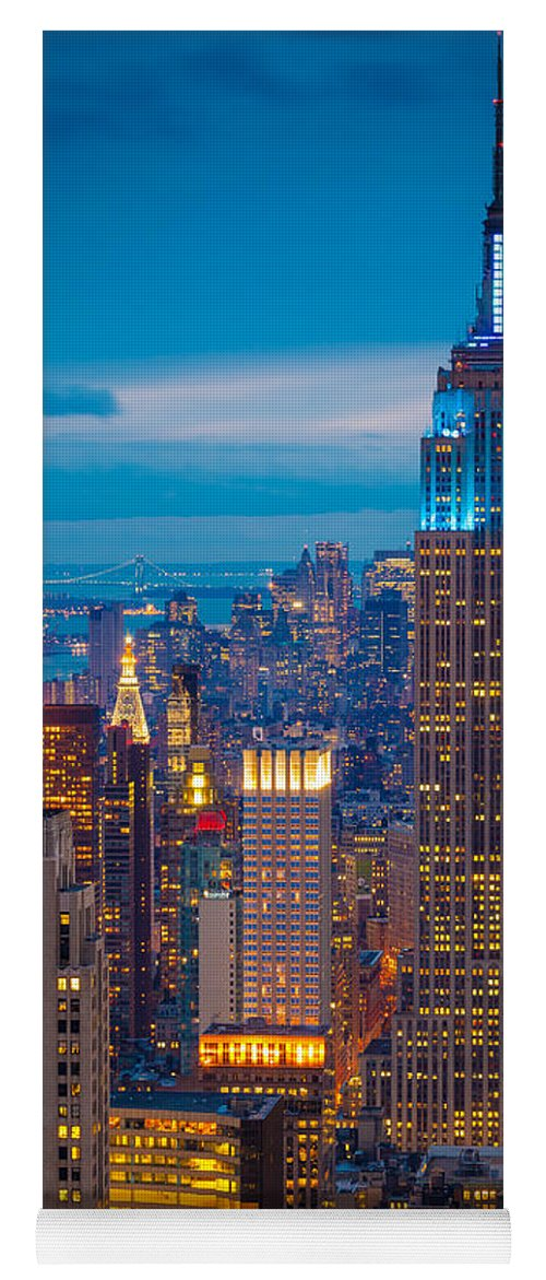 America Yoga Mat featuring the photograph Empire State Blue Night by Inge Johnsson